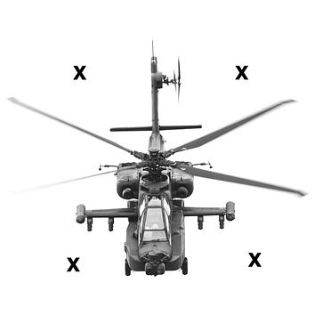 AH-64 Apache helicopter front view - Airbrush Stencil