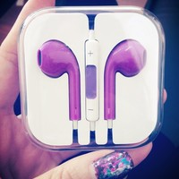 Purple In Ear Headphones with Remote for iPhone 5 from 1Point99.com