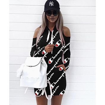 Champion Popular Women Print Long Sleeve Off Shoulder Hoodie Dress Black