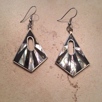 Vintage Alpaca Silver Earrings Black Abalone Inlay Mexico Dangle Mexican Jewelry