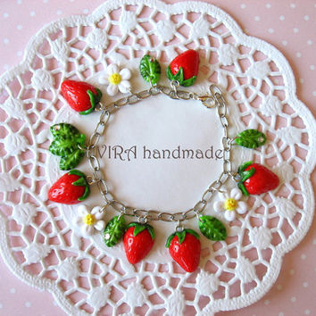 Cute strawberry with leafs and flowers charm by VIRAhandmade