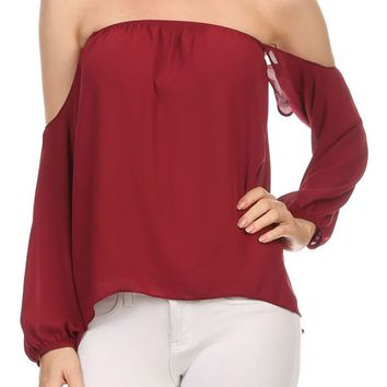 Sexy Off Shoulder Chiffon Blouse Hi-Low Hem Top