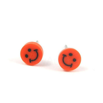 Red Smiley Face Earrings Smile Studs Polymer Clay Tiny Earrings Free Shipping Etsy Gift for her under 10