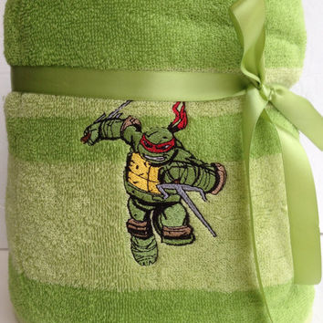 Lime green ninja Turtle bath towel embroidered ready to ship