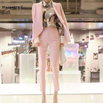 ICIKON3 two pieces set business pink formal suits jackets for Women work  long sleeve trouser suit nine pantsvestidos