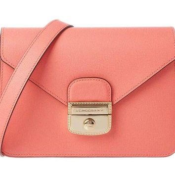 Longchamp Le Pliage Heritage Small Leather Crossbody in Coral