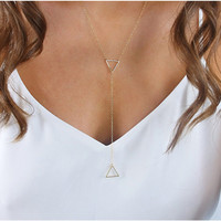 Simple Design Chain Environmental Hollow Out Metal Necklace = 4831086788