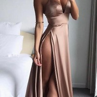 2019 Cheap Spaghetti Straps Side Split Simple Modest Sexy Prom Dresses Slit Formal Gowns Cheap Evening Gowns N9522