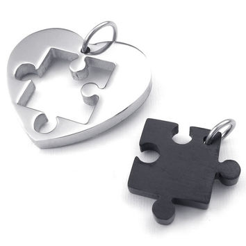 Fashion Jewelry 2pcs Lovers Mens Womens Heart Puzzle Stainless Steel Pendant Love Necklace Set, Couples Valentine's Gift for Him and Her,  Color Black, with 18 and 22 inch Chain (Size: 2.5 cm, Color: Black) = 1929764228