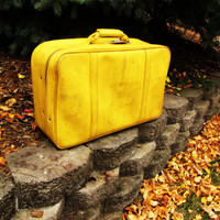 vintage mustard yellow suitcase.  Amercian Tourister. distressed vegan luggage.