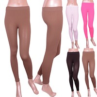 Solid Ribbed Knit Textured Banded Waist Footless Leggings Pants One Size