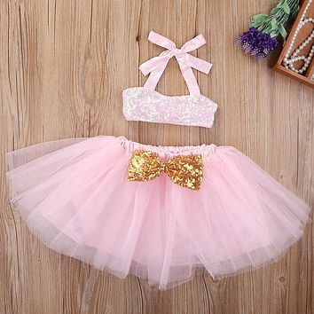 New Brand Kid Baby Girls Clothes Sequins Tops +Tutu Skirts 2PCS Baby Set Little Girl Clothing Sets ,Pink 0-3T