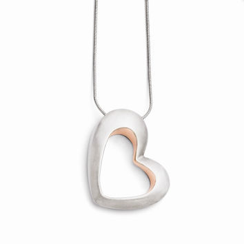Stainless Steel Brushed & Pink IP-plated Heart Necklace