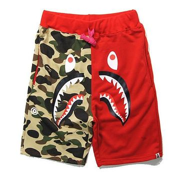 BAPE AAPE Summer Popular Men Women Camouflage Shark Mouth Print Sports Running Shorts Red