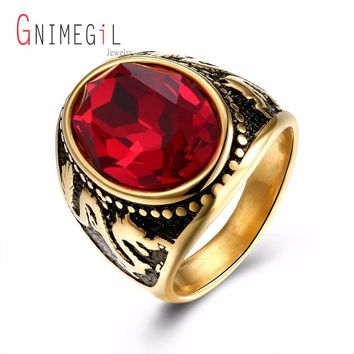 GNIMEGIL Brand Jewelry Red Crystal Stone 316L Stainless Steel Gold Color Dragon Carving Luxury Round Man Finger Rings