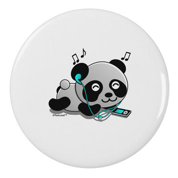 """Cute Panda With Ear Buds 2.25"""" Round Pin Button"""