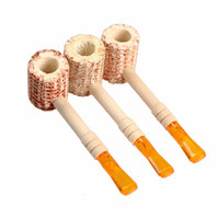 Natural Corn Cob Gourd-shaped Cigarette Holder Smoking Pipe Tobacco Pipe FG