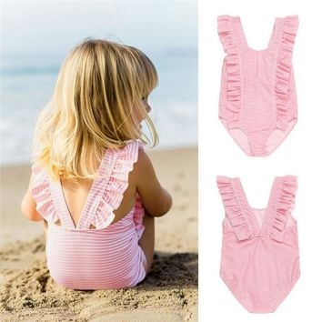 Summer Swimwear for Girls Infant Kids Baby Girls Striped Ruffles Backless One Pieces Swimwear Beach Swimsuit Clothes JE22#F