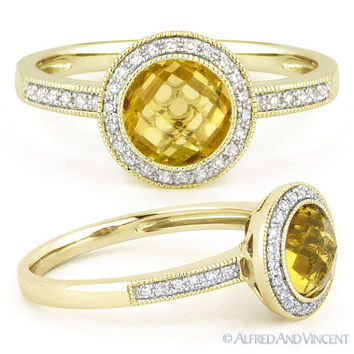 1.39ct Round Citrine Diamond Pave Halo Setting 14k Yellow Gold Engagement Ring