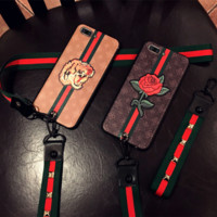 GUCCI Fashion Print Embroidery iPhone Phone Cover Case For iphone 6 6s 6plus 6s-plus 7 7plus+Hang a rope
