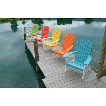 A & L Furniture Co. Amish Made Poly Fanback Adirondack Chair w/White Frame  - Ships FREE in 5-7 Business days
