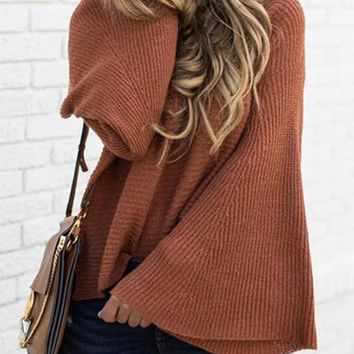 New Coffee Plain Bell Sleeve Round Neck Going out Pullover Sweater