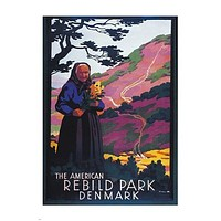 REBILD NATIONAL PARK DENMARK vintage travel poster COLORFUL historic 24X36