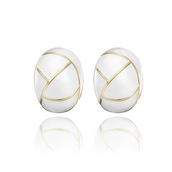 18K Gold Inline Acorn Shaped Ivory Stud Earrings Made with Swarovksi Elements
