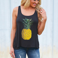 Island In The Sun Pineapple Tank - Black