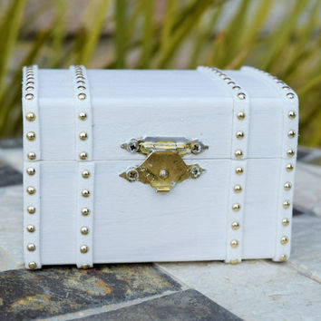 White Ring Bearer Box, Treasure Chest, Steamer Trunk