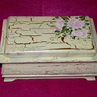 Decorative Wooden Jewelry Box Hand Painted Wood Box Distressed Roses Unique Gift