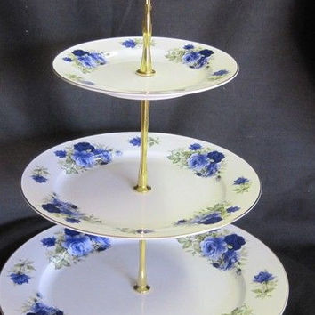3 Tier Summertime Blue Bone China Cake Stand