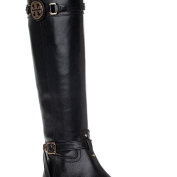 Tory Burch Calista Riding Boot Black Leather - Jildor Shoes, Since 1949