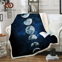 BeddingOutlet Moon Eclipse Changing Velvet Plush Throw Blanket Galaxy Printed Sherpa Blanket for Couch Landscape Bedding Throw