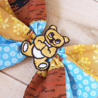 Hair Bow Head Band Vintage Fabric Patchwork And by papernickle