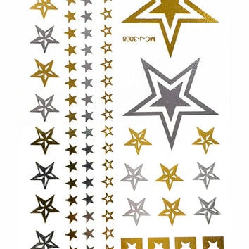 Rock Stars Metallic Temporary Flash Tattoo Gold Silver Festival Beach Holiday Gift Present Gift Present Flash Tattoo