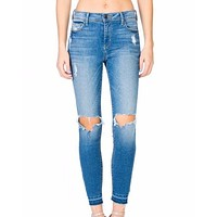 arya - mid rise crop skinny with knee rips - medium wash
