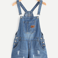 Distressed Raw Hem Denim Overall Romper -SheIn(Sheinside)