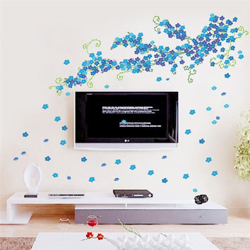 beautiful flowers TV background wall decals home decorative stickers bloom diy adesivos de paredes living bedroom mural art 046A