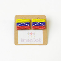 Venezuelan Earrings, Venezuela, Stud Venezuelan Earrings, Country Earrings, Flag Earrings, Patriotic, America, South America, National Pride