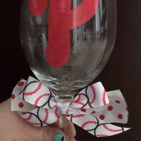 Philadelphia Phillies Wine Glass with Bow