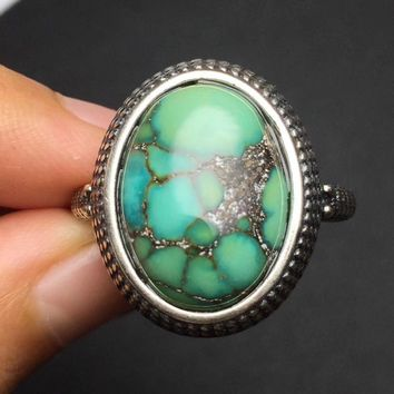 Fine Jewelry On Sale Christmas Gift s925 Solid real 925 sterling silver vintage Natural Turquoise