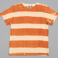 jungmaven - stripe hemp cotton blend pocket t shirt orange