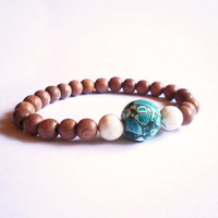 Rosewood & Turquoise Howlite Stretch Bracelet - Natural Gemstone Boho Arm Candy