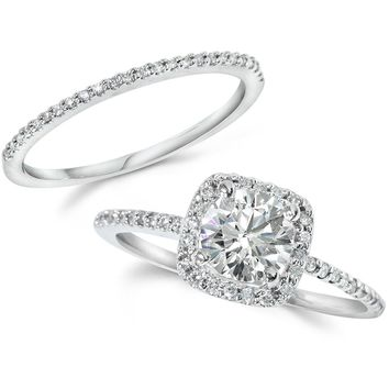 1 Carat Diamond Engagement Halo Wedding Ring Set