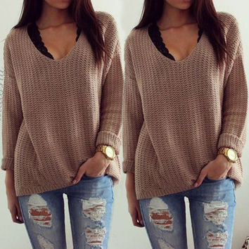New Women Ladies Fashion Fall Hollow V Neck Loose Jumper Knitshirt Tops
