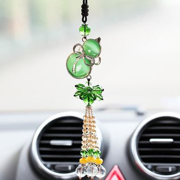 Cat Eye Gourd Blessing Car Hanging Pendant Feng Shui Crafts Auto Rearview Mirror Interior Decoration Ornament Chinese Style