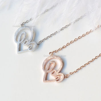 Love Heart Necklace in rose gold/ silver, open heart necklace, love letter heart necklace, dainty necklace, wedding gifts, bridesmaid gifts