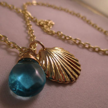 Seashell Necklace Beach Jewelry Turquoise Jewelry Ocean Jewelry Gold Necklace