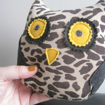 sassy leopard print owl, leopard, black pleather - small owl plush, owl teddy, woodland toy - toy with squeakers, dog toy or children's toy